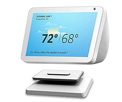 Stand for Echo Show 8,ELPHA Adjustable Stand Mount Accessories for Amazon Alexa Speaker, Magnetic Attachment, 360 Degree Swivel, Tilt function, Anti-Slip Base, 2020 Release, White from ELPHA PRODUCTS COMPANY INC
