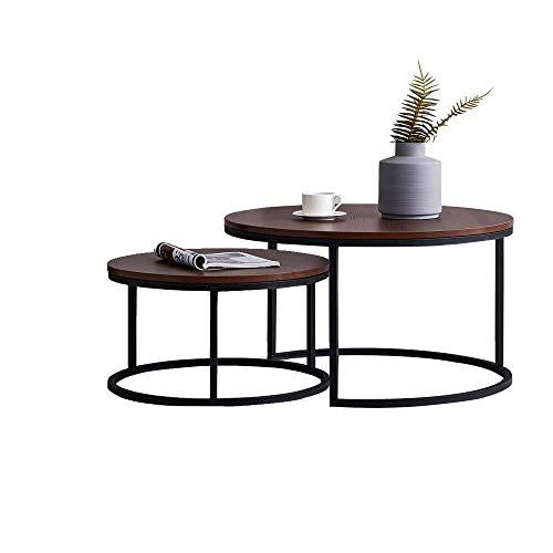 ZOEON Couchtisch Rund - 2er Set Satztisch - Sofatisch Industrie Design - Beistelltisch für Wohnzimmer (Industriell)