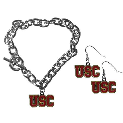 NCAA Siskiyou Sports Womens USC Trojans Chain Bracelet and Dangle Earring Set One Size Team Color