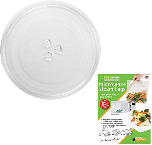 SPARES2GO Universal Glass Turntable Plate + Quickasteam Bags for All Makes of Microwave Oven (255mm / 10' Diameter)