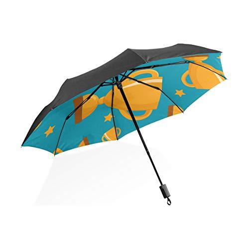 Ombrello artistico Decorazione per adulti Concorso Orgoglioso Trofeo Portatile compatto Ombrello pieghevole Protezione anti-Uv Antivento Viaggi all'aperto Donne Ombrello reversibile grande