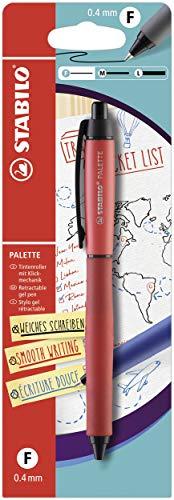 Tintenroller mit Druckmechanik - STABILO PALETTE in rot - Strichbreite F (0,4 mm) - Einzelstift - Schreibfarbe rot