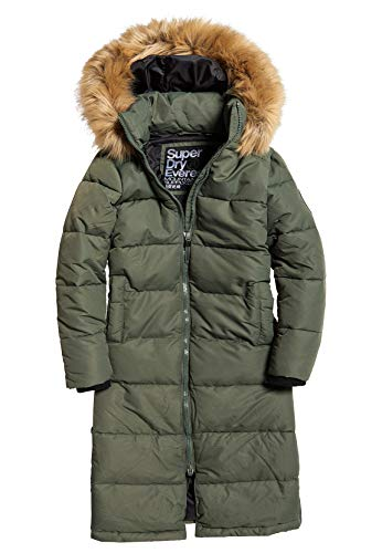 Superdry Longline Quilted Everest Jacket Chaqueta, Verde (Thyme Thy), L para Mujer