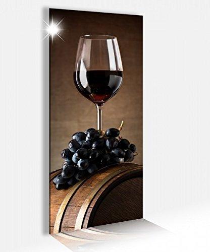 Acrylglasbild 40x100cm Glas Wein Trauben Küche Holz Fass Glasbild Bilder Acrylglas Acrylglasbilder Wandbild 14B073, Acrylglas Größe2:40cmx100cm