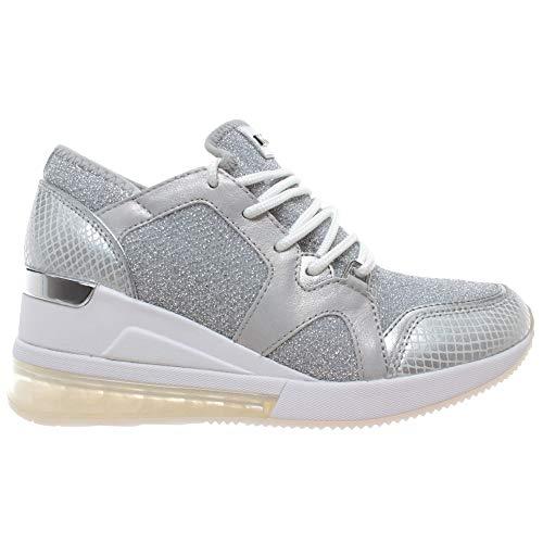 Michael Kors Damen Sneakers 43T9LVFS6D Liv Silver Leder Silber