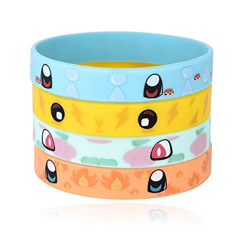 Totem World 24 Rubber Bracelets for Kids Pokemon Theme Birthday Party Favors - Durable Silicone Bracelets Provide Hours of Fun - Assorted Inspired Pikachu, Charmander, Squirtle, and Bulbasaur Design