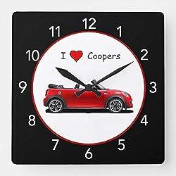Red Mini Cooper Wall Clock