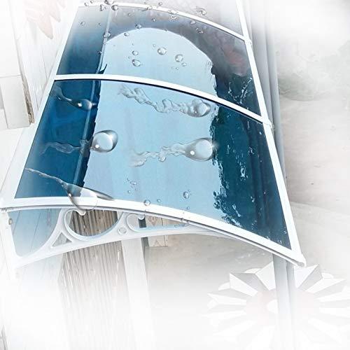 Ventanas Toldo, 3 mm Silencio a Prueba de Lluvia Cubierta de Techo de Arco Profundidad 60cm / 80cm / 100cm for Todas Las Estaciones (Color : Lake Blue+Champagne, Size : 80x120cm)