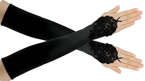 FEIBAO Damen 1920 Satin Handschuhe Vintage Gatsby Flapper Zubehör 22 Zoll Opern Ellenbogen Handschuhe