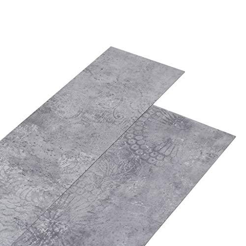 Irfora PVC Laminat Dielen PVC Bodenbelag-Set Laminat Vinyl Boden Planken Bodenbelag 5,26 m² 2 mm Zementgrau/Gestreift Grau/Industrielle Holzoptik/Gestreift Holzoptik Geeignet für Küche,Bad,Flur