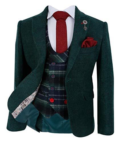 SIRRI Maßgeschneiderte Jungen-Blazer Jacke mit Weste aus Kaschmirgewebe in Waldgrün, 6 Jahre