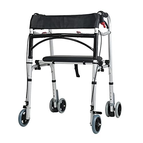 qiaosiye Andador para Ancianos con Asiento, Ligero, Plegable, Caminador con Frenos por presión, Andadores para Adultos y minusvalidos(4 Ruedas y 6 Ruedas)