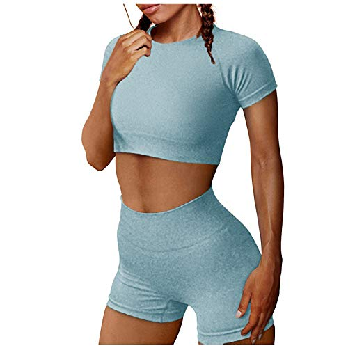 NAQUSHA Conjunto de yoga de dos piezas para mujer, de cintura alta, sin costuras, para control de barriga, gimnasio, entrenamiento