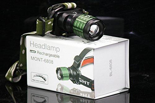 CursOnline Torcia LED Frontale da Testa by Bailong BL-6808 con Zoom Potentissima LED Bianco di Nuova Generazione MOD. LED CREE XR-E Q5 800 Lumens