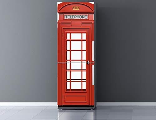 Pegatinas Vinilo para Frigorífico Cabina telefonos Londres | Varias Medidas 185x60cm | Adhesivo Resistente y de Fácil Aplicación | Pegatina Adhesiva Decorativa de Diseño Elegante
