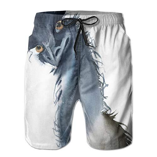Ye Hua Funny Struzzo Shorts da Uomo Shim Trunks Surf Beach Holiday Party Costume da Bagno Pantalone da Spiaggia M
