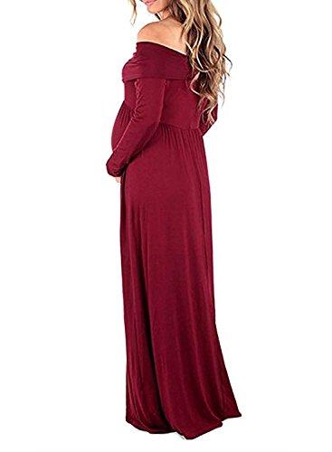 BEDAMAM Premamá Vestido de Manga Larga Maxi Falda Plisada con Encaje Flores para Mujer Casual Maternidad Vestido Fotografía Sexy Vestido de Embarazo Rojo L
