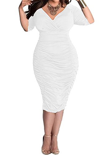 POSESHE Womens Plus Size Deep V Neck Wrap Ruched Waisted Bodycon Dress (3X-Large, White)
