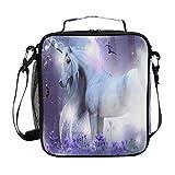 3D magische Einhorn-Lunch-Tasche isolierte Lunchbox lila Lavendel Tier Pferd Kühltasche Thermotasche Snacks Organizer Wiederverwendbare Taschen Schultertasche für Damen Herren Outdoor Büro Picknick