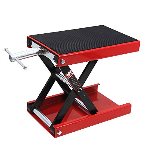 Apextreme 1100 LB Motorcycle Lift Center Scissor Lift Jack Wide Flat Hoist Stand Bikes ATVs Garage Repair Stand, shiny red