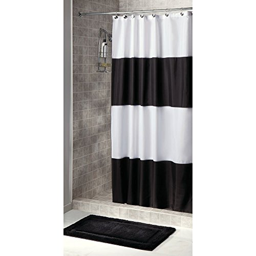 InterDesign Cortina de Tela para baño, no se enmohece, repele el Agua, Zeno Cortina de baño Impermeable - Extralarga, 183 cm x 244...