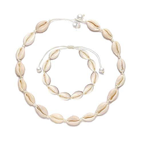 SMCTCRED Conchas Naturales Collares Pulsera para Mujeres Niñas Hawaii Ajustable Playa Cowrie Seashell Beads Gargantilla Pulsera Verano Concha Conjunto de Joyas (Blanco)