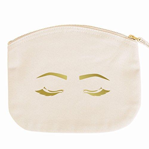 JUNIWORDS Kosmetiktasche Kulturtasche mit Reißverschluss - Sleeping Eyes 2-19 x 17 cm - Tasche: Natur - Schrift: Gold
