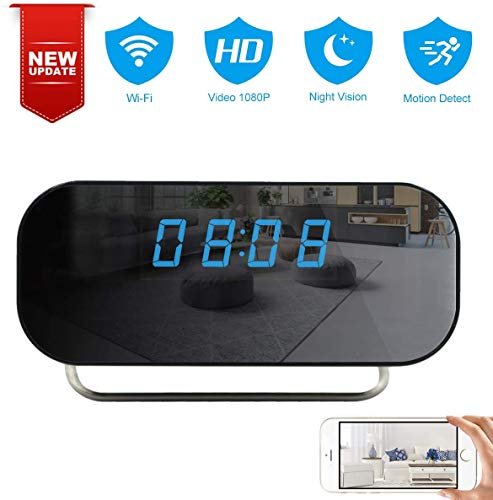 Alarm Clock Camera TTCDBF 1080P WiFi Mini Clock Camera Wireless Nanny Micro Security Cam with Motion Detection, Night Vision, 150 Angle View, Real-time Record Video, Built-in Battery