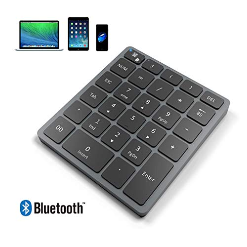 HWUKONG Wireless Bluetooth 3.0 Numeric Keypad, 28-Key External Bluetooth Numeric Keypad with Quick Keys, Compatible with Windows/Surface Pro/Imac/Macbook/Ipad/Android Tablet