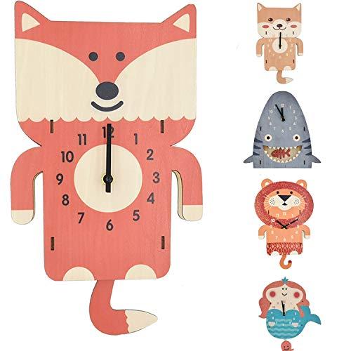 ELLEMOI 3D Kinderuhr Kinderwanduhr aus Holz Ohne Ticken Lautlosem Kinder Wanduhr Wand-Deko für Kinderzimmer (Füchse)