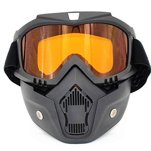 Motorbril afneembare masker bril Harry stijl helm anti-mist winddicht rijden UV bescherming zonnebril zwart ORANJE