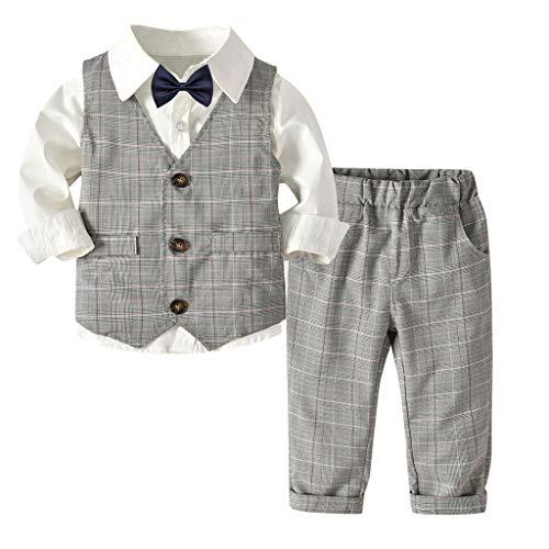 MRULIC Baby Junge Bowtie Gentleman Weste T-Shirt Hosen Hochzeit Anzug Tuch Sets(A-Weiß,Höhe:120-130CM)