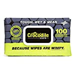 """Crocodile Cloth Industrial Cleaning Wipes - The Stronger Easier Way to Cut Through Grease, Oil, and Adhesives on Hands… 10 MORE EFFECTIVE, MORE VALUE: These giant 15"""" x 10"""" cloths are designed to scrub and absorb, meaning you need less wipes to clean the same mess. If you need more than one wipe for a mess you need to move on to Crocodile Cloth DON'T JUST CLEAN. ATTACK: Designed to dissolve and absorb grease, oil, paint, ink, caulk, glue, and automotive messes in real work environments. Our wipes stay moist longer and feature a super tough heavy-duty build HAND SAFE: Our wipes are dermatologically tested and infused with aloe and vitamin E to be safe for hands while eating through grease and oil. Every disposable cloth will stay wet outside the package for over an hour."""