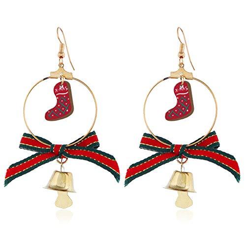 NA Boucles d'oreilles Pendantes pour Femme - pour Le Bureau Vacances -Cadeau pour Femme-Boucles d'oreilles À Thème De Noël-Arc Et Pendentif De Chaussette De Noël