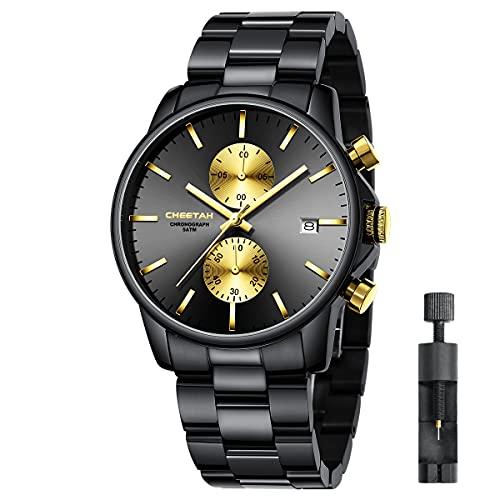 Reloj de Cuarzo con cronógrafo de Acero Inoxidable y Metal, Resistente al Agua, con Fecha automática en manecillas Coloridas (Oro Negro)