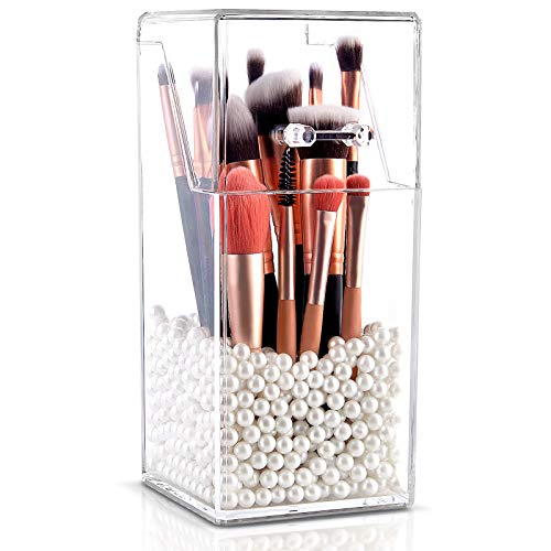InnSweet Makeup Brush Holder Organizer, Dustproof Cosmetics Brush Storage with White Pearls