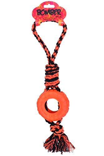 Bomber banden met touw & knopen, 9,5 x 42 cm, oranje/zwart