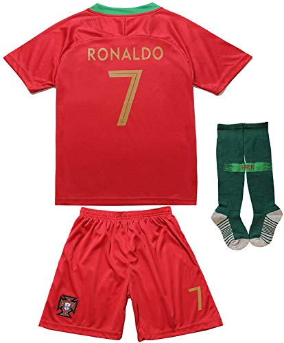 FPF Portugal #7 Home Red Kids Soccer Football Jersey Gift Set Youth Sizes (Home Red, 6-7 Years)