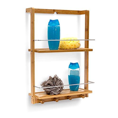 Relaxdays Duschregal aus Bambus HxBxT: ca. 53 x 38 x 15,5 cm Duschablage mit 2 Ablageböden aus feuchtigkeitsresistentem Holz Hängeregal fürs Bad als praktische Hängeablage mit 4 Handtuchhaken, natur