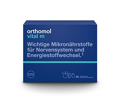 Orthomol vital m 30er Granulat, Tablette & Kapseln, Grapefruit - Vitamin Komplex für Männer bei Müdigkeit & Erschöpfung