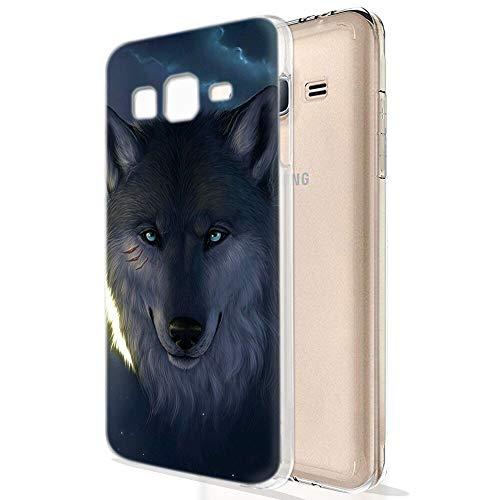 Zhuofan Plus Cover Samsung Galaxy J3 2016, Custodia Clear Silicone Soft Transparent Tpu Gel con Design Print Pattern Antigraffio Antiurto Protactive Cover per Samsung Galaxy J3 2016, Lupo
