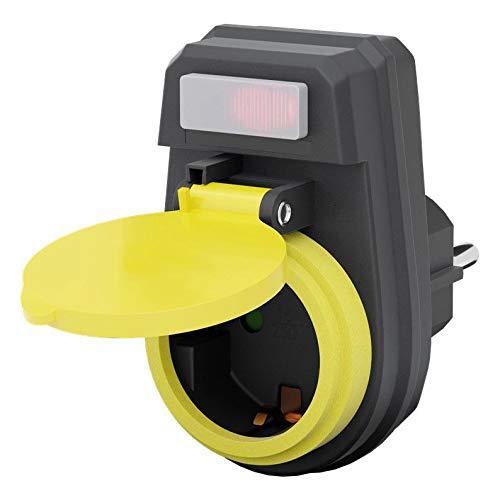 Outdoor Steckdose | IP44 | beleuchteter Schalter | wasserfeste Außensteckdose | Außenbereich Garten Stromverteiler | Kindersicherung Berührungsschutz Schutzkontakt | wetterfest