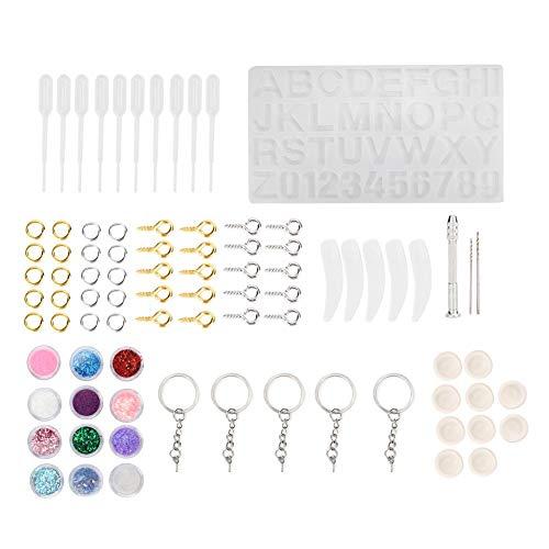 TMISHION Moldes Resina DIY Silicona, Moldes de Joyería de Formas de Letras y Números Herramientas Conjunto Crafting Kit para Hacer Joyerias Collar Pendiente Fabricación Joyas Bricolaje