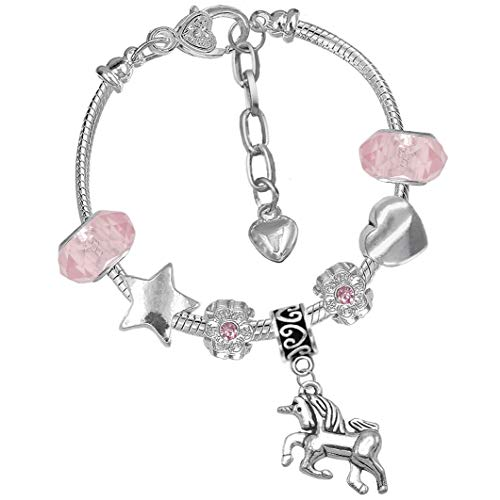 Girls Magical Unicorn Sparkly Pink Crystal Charm Bracelet with Gift Box Birthday Gifts for Girls
