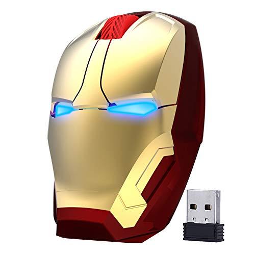 ECOiNVA Mouse ottico wireless Iron Man 2,4 G per computer desktop, laptop, PC, Mac (oro)