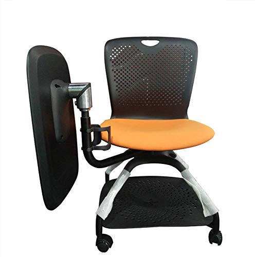 WSDSX Office Chair,Shape Series Mobile Tablet Arm Chair, 360 Degree Rotating Table,One Training Chair, Fashion Conference Room (Color : Black)
