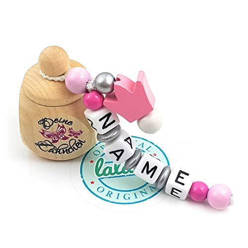 """LALALO Holz Zahndose mit Namen, Taufgeschenk, Zahnbox Milchzähne Box Gravur, Milchzahndose Zahndöschen personalisiert (Aufdruck""""Deine Zähnchen"""" + Schmetterlinge, Motivperle Krone, Rosa)"""