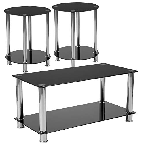 Flash Furniture Riverside Collection 3 Piece Coffee and End Table Set with Black Glass Tops and Stainless Steel Frames