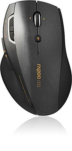 Rapoo 7800P kabellose Laser Maus mit 5 GHz Wireless Verbindung, 1600 DPI HD Sensor, elegantem Design, schwarz