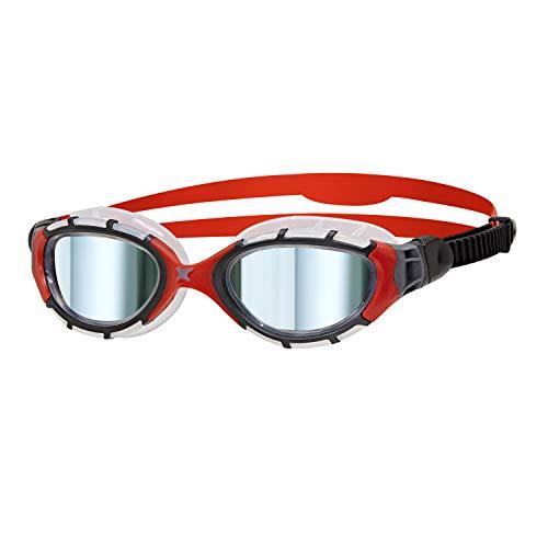 Zoggs Predator Flex Occhialini da Nuoto Unisex Adulto, Nero/Rosso/Specchio, Regular